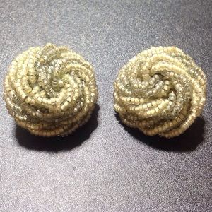 Vintage Light Green & Cream Clip Earrings