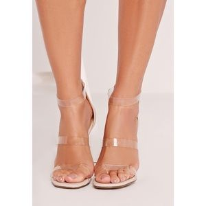 Three Straps Barely There Clear Heels