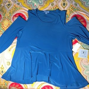Tops - Cyan blue top with peekaboo shoulders