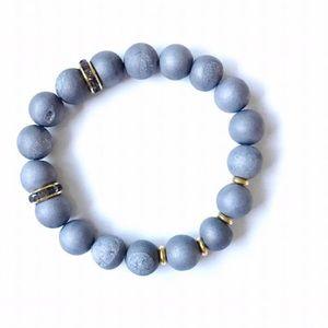 Bondhu Jewelry - 🌺 Gray Geode Druzy Bracelet with Gold Spacers