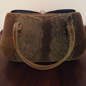 Handbags - Vintage green velvet purse
