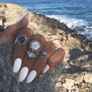 Jewelry - New Antique Silver Boho Stone Ring Set