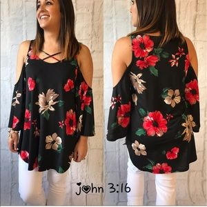 Boutique Tops - ❗️last 2❗️Cold shoulder floral tops