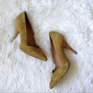 Madewell Shoes - MADEWELL mustard yellow suede Mira heels