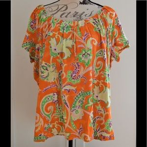 Lauren Ralph Lauren Tops - Lauren Ralph Lauren Orange Paisley Blouse Sz 3X