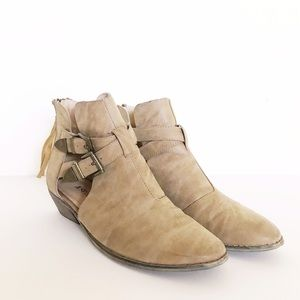JustFab Shoes - Tan Buckle Booties