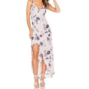 ASTR Penelope Wrap Dress in Grey Multi Floral