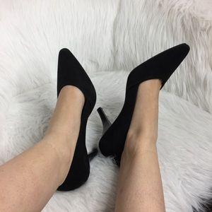 Anne Klein Shoes - Anne Klein Ak iflex Pointed Toe Black Suede Heels