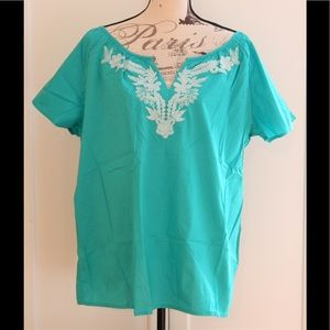 Teal Embroidered Peasant Blouse Top Sz 1X