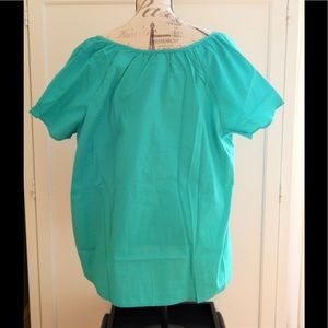Basic Editions Tops - Teal Embroidered Peasant Blouse Top Sz 1X