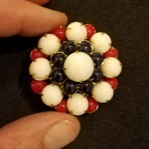Vintage Jewelry - VTG Red, White and Blue cushion brooch