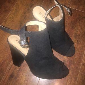bamboo Shoes - Black suede peep-toe booties