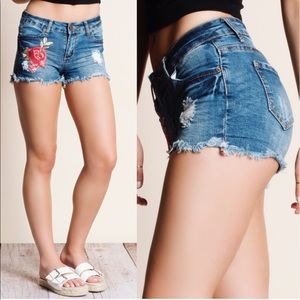 STASSIE embroidered denim shorts