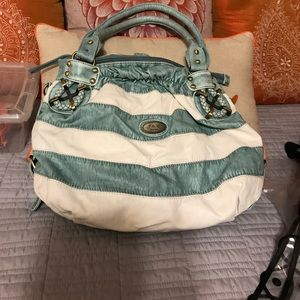 Handbags - Teal and white bag (120)