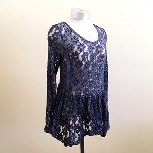 Swell Tops - SWELL *NEW* Slate Blue Sheer Boho Lace Tunic