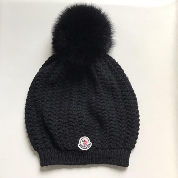 b20c300fea8 NWOT Moncler Black Knit Fur Pom Pom Beanie. M 5929f70e713fde595501a88e