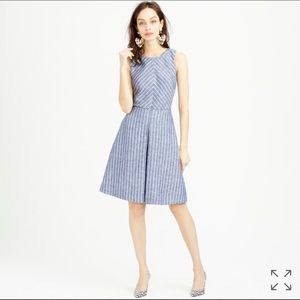 J. Crew Dresses & Skirts - J. Crew Linen Chevron Striped Fit & Flare Dress