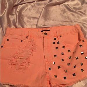 Sherbet orange high waisted shorts