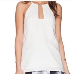 cameo Tops - Cameo white strappy cut out keyhole tank