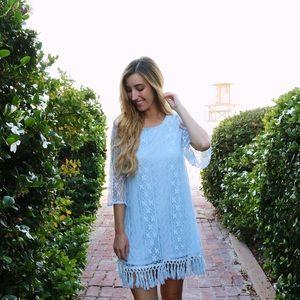 blue lace and fringe dress