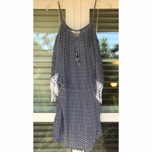 Green Dragon Dresses - NWT Navy Printed Cold Shoulder Dress