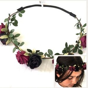 Floral rose headband hair accessory