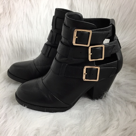 Steve Madden Shoes - Steve Madden Ankle Booties with Gold Buckles