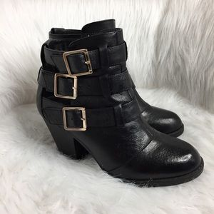 Steve Madden Ankle Booties with Gold Buckles