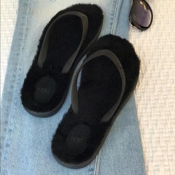 30 Off Ugg Shoes - Ugg Fluffy Black Flip Flops Nib From -5944