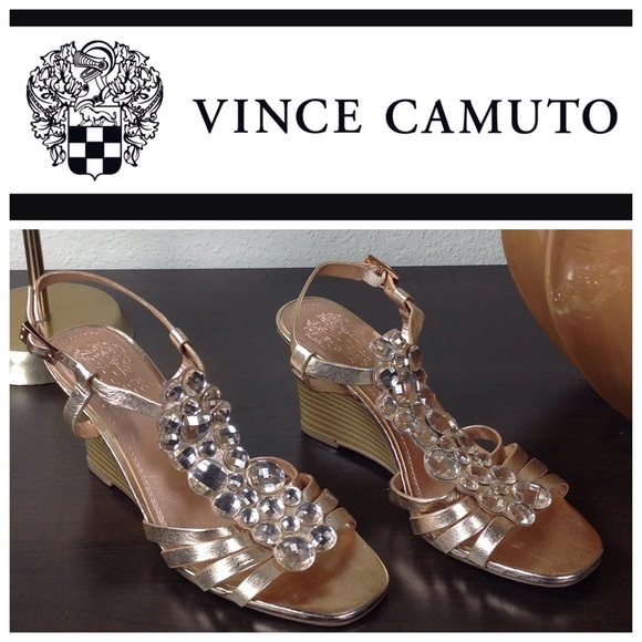 fdeb24e98eccc0 Vince Camuto Rose Gold Pink Rhinestone Wedges. M 592a028941b4e0f95301d10d