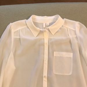 Frenchi Tops - Sheer white button down