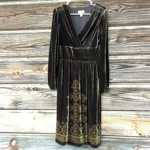 Anne Taylor Loft Brown Velvet Long Sleeve Dress