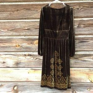 Anne Taylor Dresses - Anne Taylor Loft Brown Velvet Long Sleeve Dress