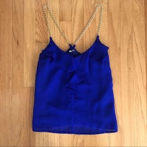 Charlotte Russe Blue Ruffle Top Gold Chain Straps