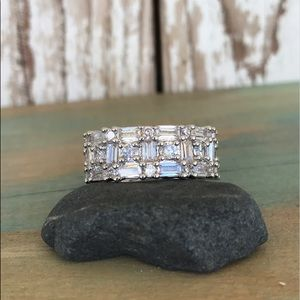 MEMORIAL SALE Sterling 925 & white sapphire ring 7