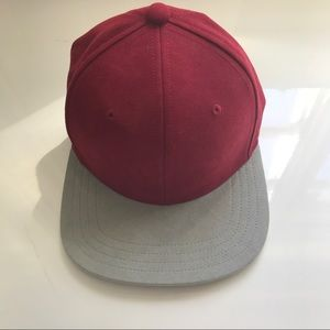 Gents Other - Maroon and Grey Suede Flat Rim Baseball Cap