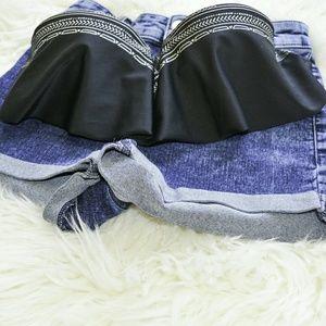 Black + Silver Cute Bikini Top