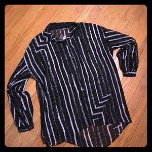 Seneca Rising Tops - Black striped sheer blouse by Seneca Rising PacSun