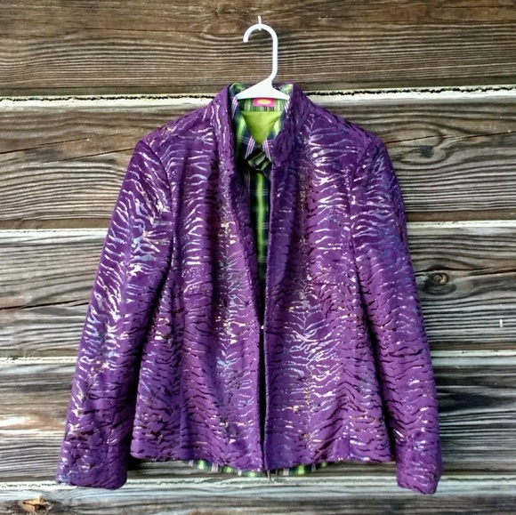 Toni Morgan Jackets & Coats - Stylish Toni Morgan Purple and Gold Zip-Up Jacket