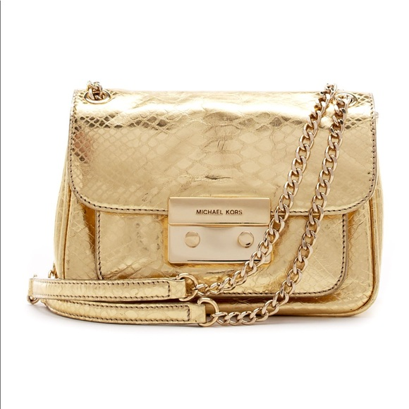 c594a16b0b6c Michael Kors Bags | Sloan Gold Python Cross Body Bag | Poshmark