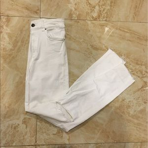 Zara White High Waisted Distressed Jeans