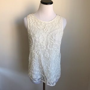 River Island Embroidered Lace Cream Top from ASOS