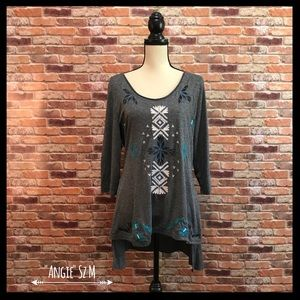 Angie Tops - Angie 3/4 Sleeve Embroidered Hi Low Tunic