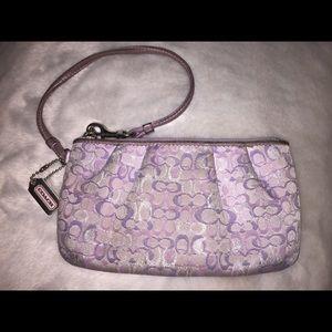 Coach Handbags - Lavender metallic COACH wristlet/clutch OBO