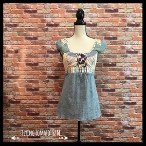 Flying Tomato Tops - Flying Tomato Patchwork Tie Back Blouse