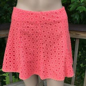 NWT Lush Cotton Eyelet Mini Skirt -Tangerine Sz M
