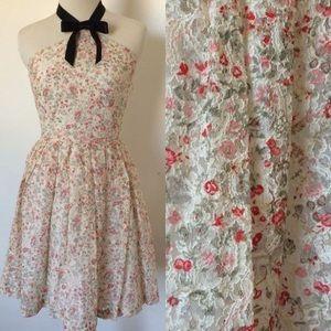 Rodarte Dresses & Skirts - NWT Rodarte Lace Floral Halter Bow Dress