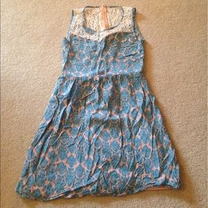 Annabelle Dresses & Skirts - Blue and pink lace backed dress