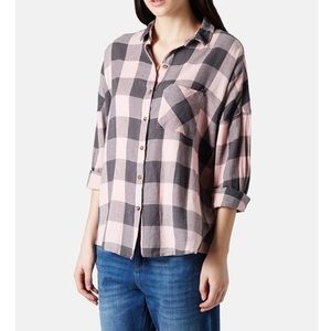 TOPSHOP Pink Oversized Check Shirt
