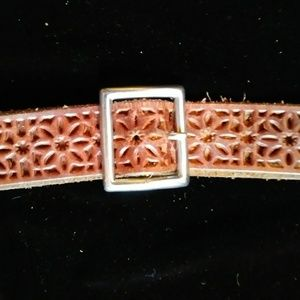 AEO perforated leather belt and square buckle